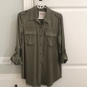 Army Green Military Style Blouse, Size XS